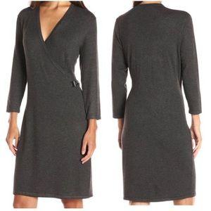 Calvin Klein Faux Wrap Gray Sweater Dress Sz XL